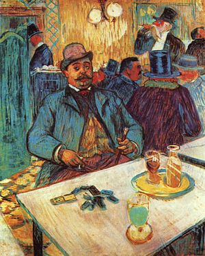 Cultural references to absinthe - Monsieur Boileau au café, by Toulouse-Lautrec.