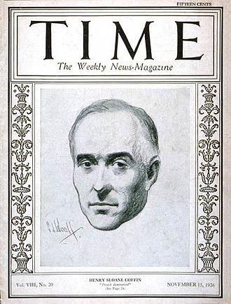Henry Sloane Coffin - The Rev. Henry Sloane Coffin on the cover of Time magazine November 15, 1926