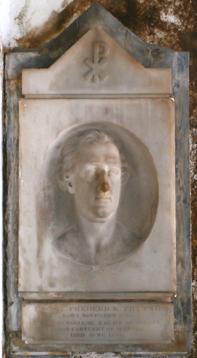 "Mural monument in Kilkhampton Church, Cornwall, to Henry Carteret, 1st Baron Carteret (1735-1826), inscribed: ""Henry Frederick Thynne. Born November 1735. Privy Counsellor, Bailiff of Jersey, Baron Carteret of Hawnes. Died June 1826"". An identical monument survives in Haynes Church HenryThynne 1stBaronCarteret KilkhamptonChurch Cornwall.PNG"