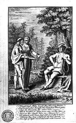 Henry Roberts (engraver) - Milton, led by the muse Calliope, presenting his works to Handel