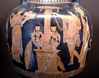 Relic - Amphora depicting Greek hero cult in honor of Oedipus (Apulian red-figure, 380–370 BC)