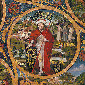 Henry I, Margrave of Austria - Henry the Strong and the martyrdom of Saint Coloman, Babenberger Stammbaum, Klosterneuburg Monastery, 1489–1492