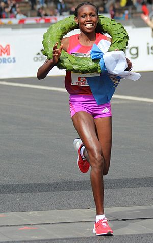 Hilda Kibet -  Hilda Kibet winning the 2012 Göteborgsvarvet in 1:09:27.
