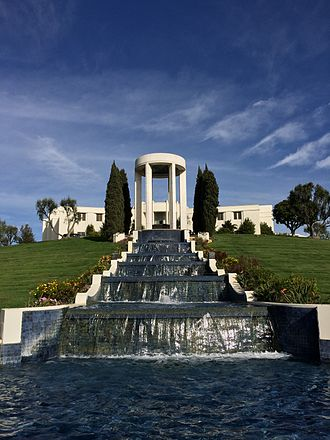 Hillside Memorial Park Cemetery - Waterfall and Al Jolson monument at Hillside Memorial Park