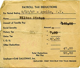 Milt Hinton - Paystub from Cab Calloway to Milt Hinton (1947), from the Milton J. and Mona C. Hinton Collection, Oberlin Conservatory Library special collections