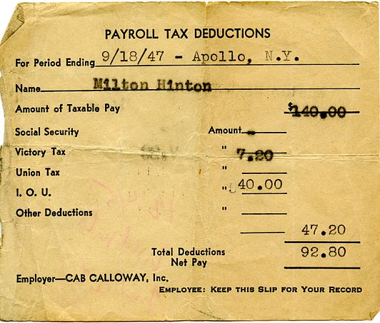 Paystub from Cab Calloway to Milt Hinton (1947), from the Milton J. and Mona C. Hinton Collection, Oberlin Conservatory Library special collections