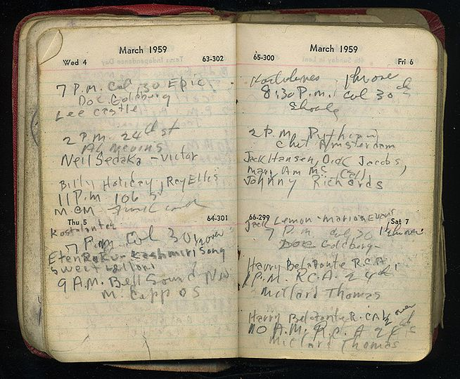 Milt Hinton's personal datebook (1959), from the Milton J. and Mona C. Hinton Collection, Oberlin Conservatory Library special collections