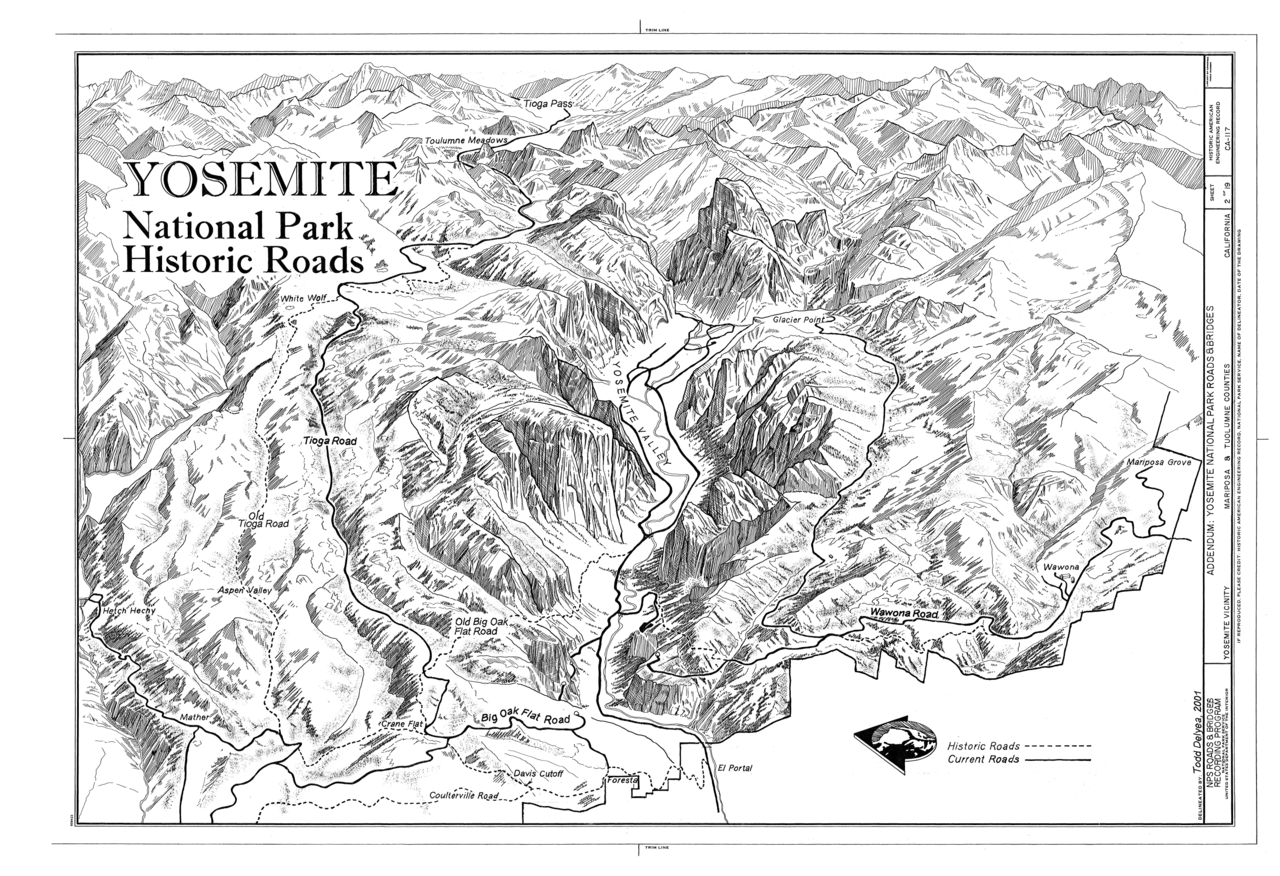 File:Historical Base Map - Yosemite National Park Roads and Bridges ...