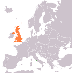 Map indicating locations of Holy See and United Kingdom