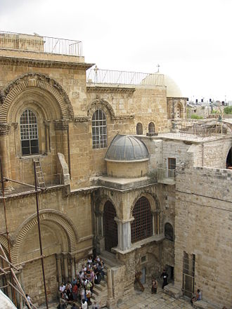 Church of the Holy Sepulchre - View of the church courtyard (with the Immovable Ladder on the left and the Chapel of the Franks on the right)