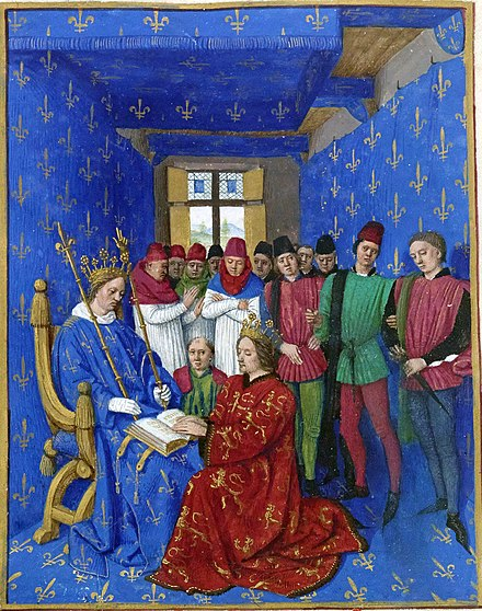 Philip IV receiving the homage of Edward I for Aquitaine Hommage d Edouard Ier a Philippe le Bel.jpg