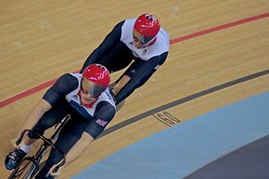 Jason Kenny - Kenny (front) and Chris Hoy during the team sprint at the 2012 Olympic Games