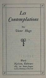 Victor Hugo: Les Contemplations (éd. 1911)