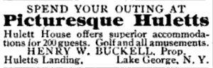 Huletts Landing, New York - A 1903 travel advertisement for Huletts Landing.
