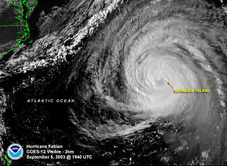 Hurricane Fabian - Hurricane Fabian over Bermuda late on September 5