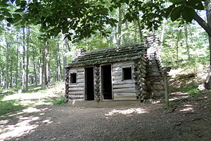 Jockey Hollow - Reconstructed hut at Jockey Hollow (July 2015)