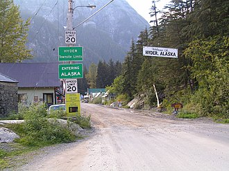 Hyder, Alaska - The border between Stewart, British Columbia and Hyder, as seen from the Canadian side.
