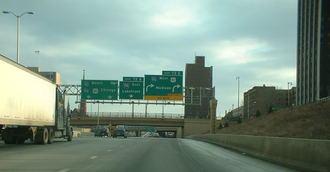 Interstate 43 - I-43 approaching the Marquette Interchange from the north in Milwaukee