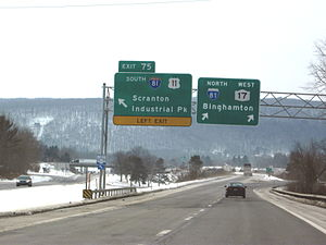 New York State Route 17 - NY 17 merges here with I-81 for 5 miles before splitting in Binghamton.