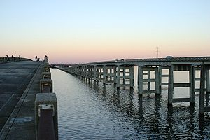 Interstate 95 bridge over Lake Marion, Santee, SC; old bridge is fishing pier