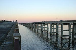Interstate 95 bridge over Lake Marion, Santee, SC; old bridge is fishing pier