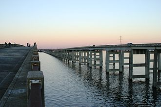 Interstate 95 in South Carolina - I-95 bridge-causeway over Lake Marion at Santee; the old (bypassed road) bridge-causeway is used as fishing pier.