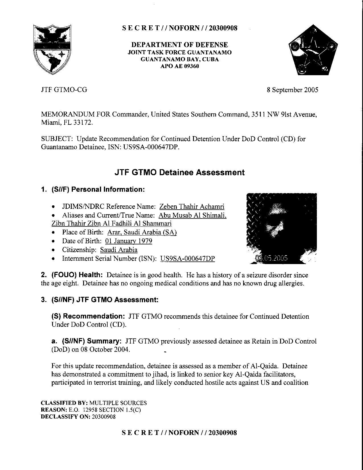 ISN 00647, Zeben Thahir Achamri's Guantanamo detainee assessment.pdf