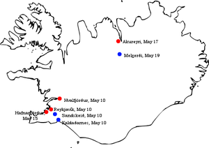 Iceland in World War II - Initial British targets for the 1940 Invasion of Iceland: Reykjavík along with its harbour and seaplane landing site (Vatnagarðar), nearby landing grounds at Sandskeið and Kaldaðarnes to the east, the nearby anchorage at Hvalfjörður to the north, the harbour at Akureyri in the far north, and the nearby landing grounds at Melgerði. The harbour at Hafnarfjörður, near Reykjavík, was also secured early on.