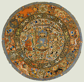 Circle - Circular piece of silk with Mongol images