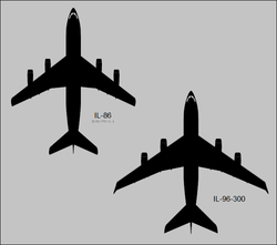 Ilyushin Il-86 Camber and Il-96-300 top-view silhouettes.png