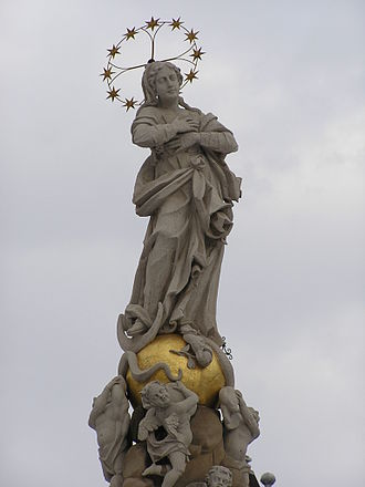Feast of the Immaculate Conception - A modern statue of the Immaculate Conception atop a public square in the main street of Košice, Slovakia.