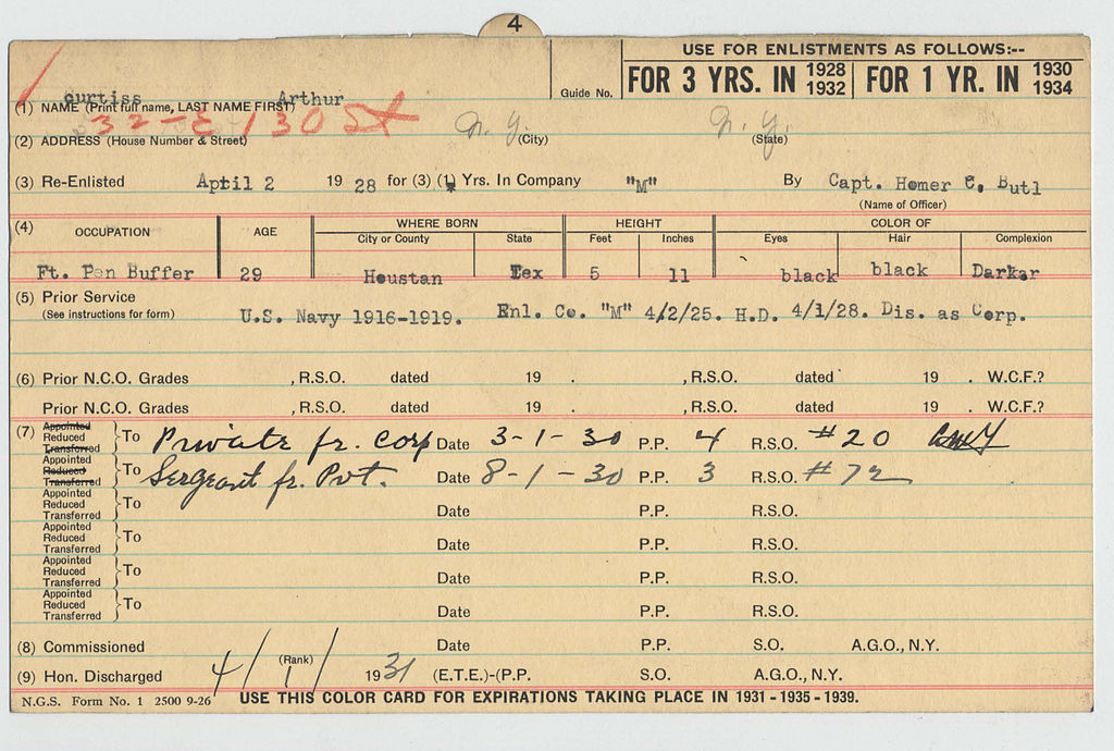 Fileindex Card For 369th Infantry Regiment Soldier Front Side