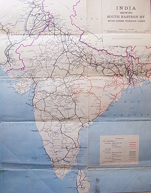 South Eastern Railway zone - Major routes of the Indian rail system in 1955