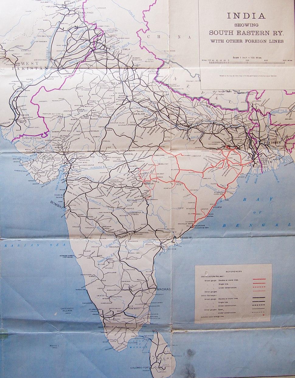 India Rail Lines 1955