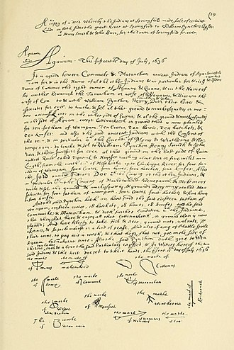 History of Springfield, Massachusetts - The text of the 1636 deed between William Pynchon and 13 tribesmen for the land of the settlement of Agawam Plantation, subsequently known as Springfield, copied at a later date in the hand of Elizur Holyoke