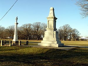 Indian Creek massacre - Monuments at the massacre site in Shabbona County Park, the older monument is on the left.