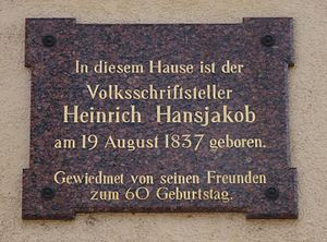Heinrich Hansjakob - Board at Hansjakob's place of birth in Haslach