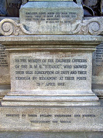 Ferdinand Victor Blundstone - Image: Inscription on Titanic Engineers' Memorial, Southampton