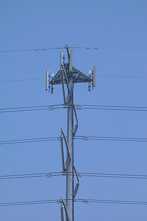 Antenna diversity - Cell antennas on an electricity pylon showing two antennas per sector
