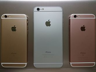 IPhone - The rear of iPhone 6s and 6 plus with gold, silver and rose gold.