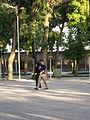 Iranian Man and his wife walking and talking - Mohammad Al Mahruq Mosque - Nishapur 1.JPG