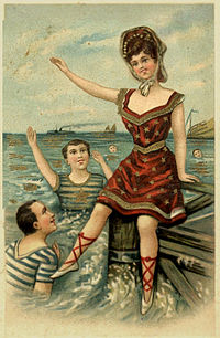An old European postcard. This postcard features three people out at sea. Two people are swimming, while the third person sits atop a box. This postcard was edited to make the album cover.