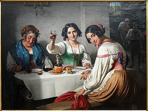 In a Roman Osteria - The painting owes an obvious debt to Wilhelm Marstrand's Italian Osteria Scene painted in 1848