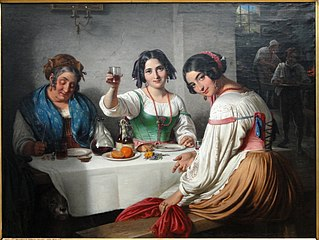 Italian Osteria Scene, Girl welcoming a Person entering