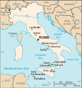 Italy volcano map