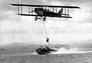 "Curtiss JN-4 - One of the many daredevil stunts performed by JN-4 pilots was to work with a ""wingwalker""."