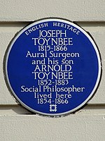 JOSEPH TOYNBEE 1815-1866 Aural Surgeon and his son ARNOLD TOYNBEE 1852-1883 Social Philosopher lived here 1854-1866.jpg