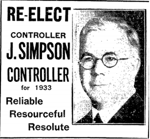 James Simpson (politician) - 1932 election ad for Simpson