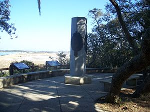 Timucuan Preserve - Ribault monument, in the Preserve, with the St. Johns River in the background