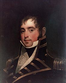 Portrait couleur du capitaine James Lawrence en uniforme.